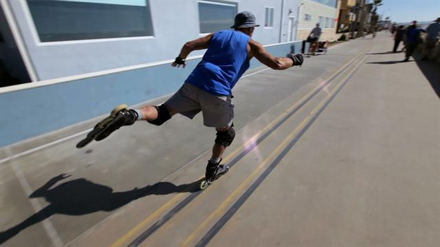 Every day Kitchin skates along San Diego's Pacific Beach boardwalk practicing his unorthodox form of meditation.