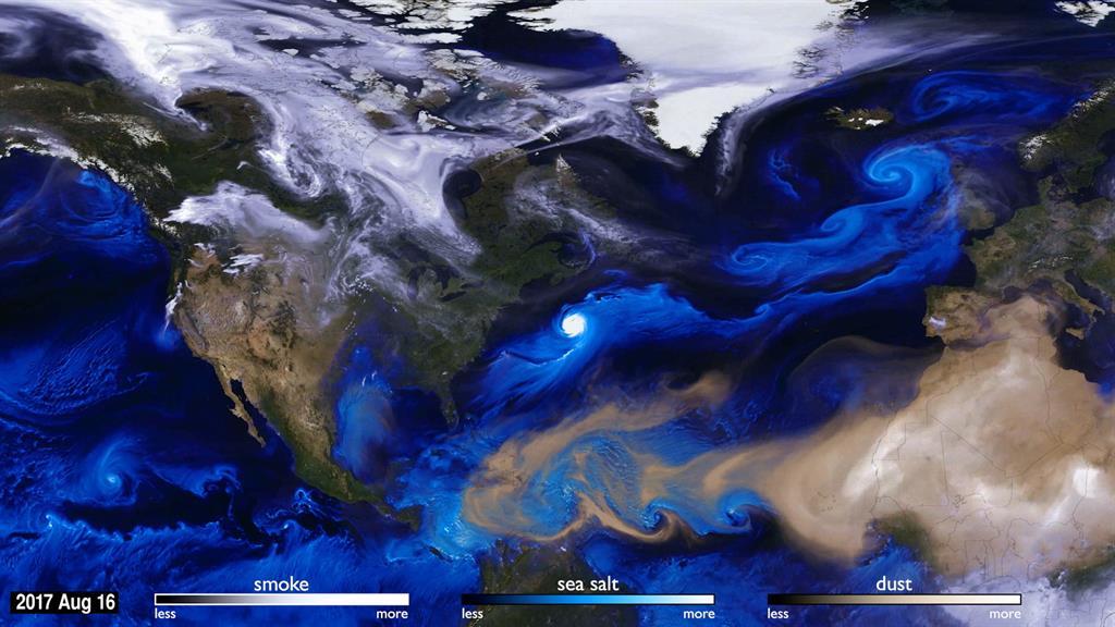 NASA Satellite Visualization Shows 2017 Hurricane Season With Aerosols